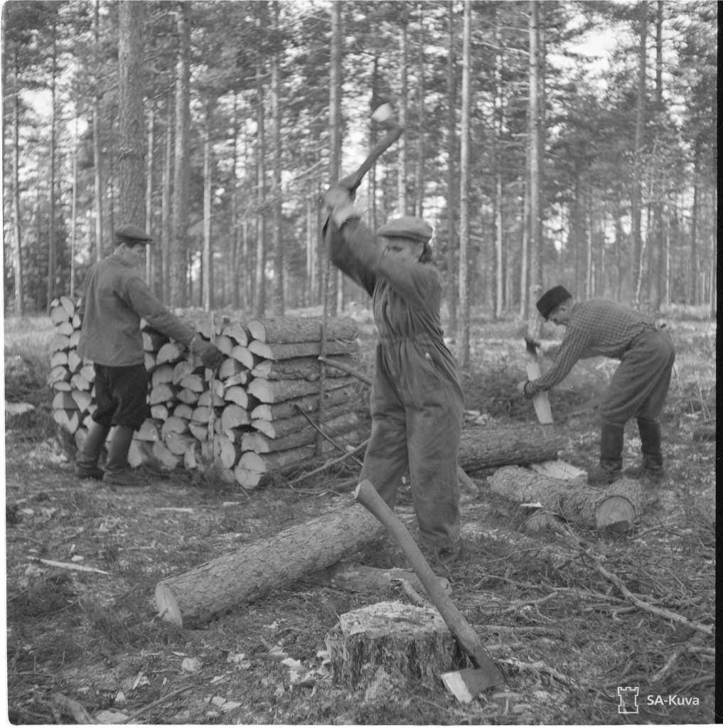 Eduskunnan mottitalkoot Puistolassa 19.11.1942. SA-kuva.