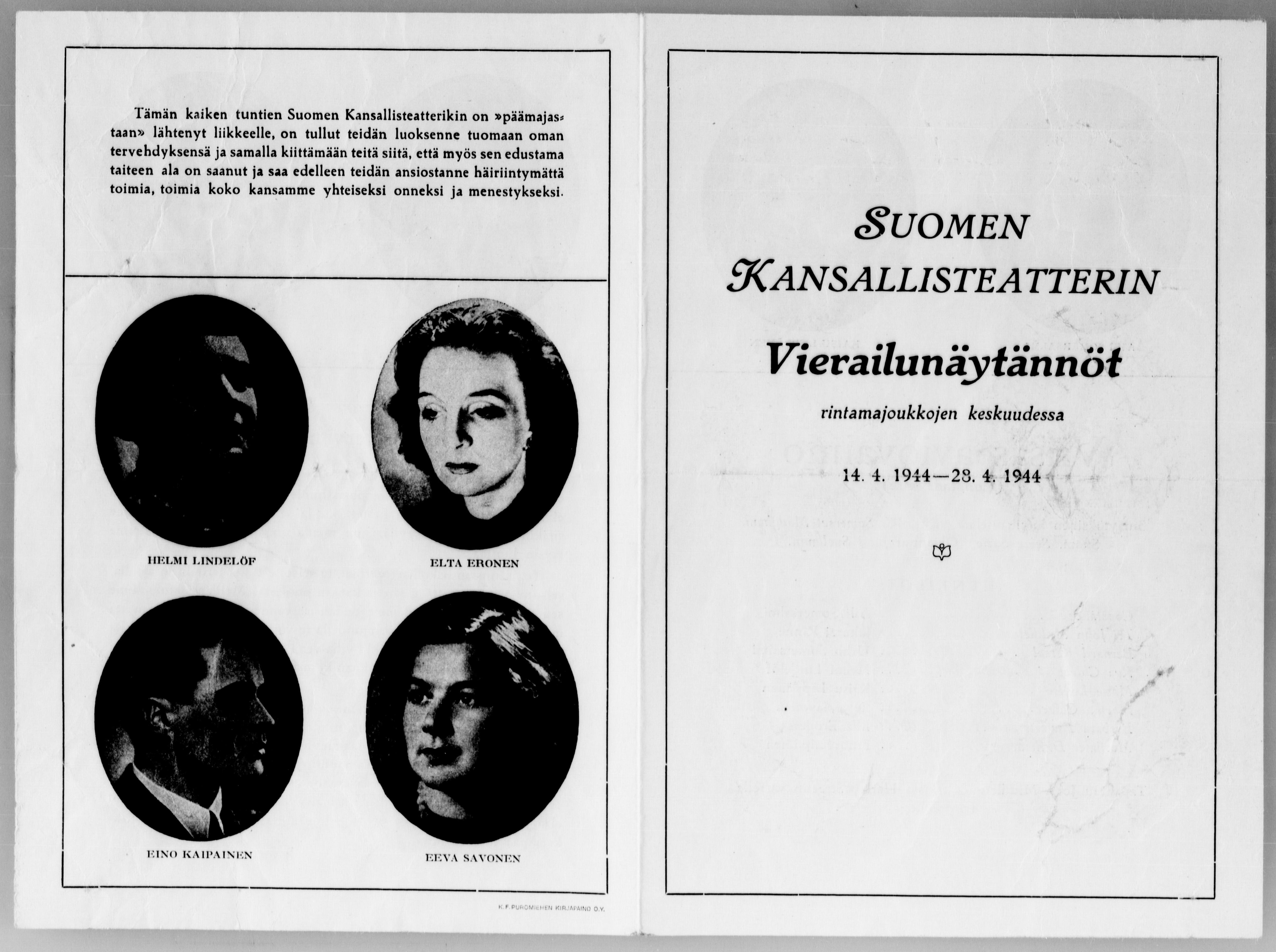 Suomen Kansallisteatterin ohjelma. Teatterin tervehdys rintamalle.