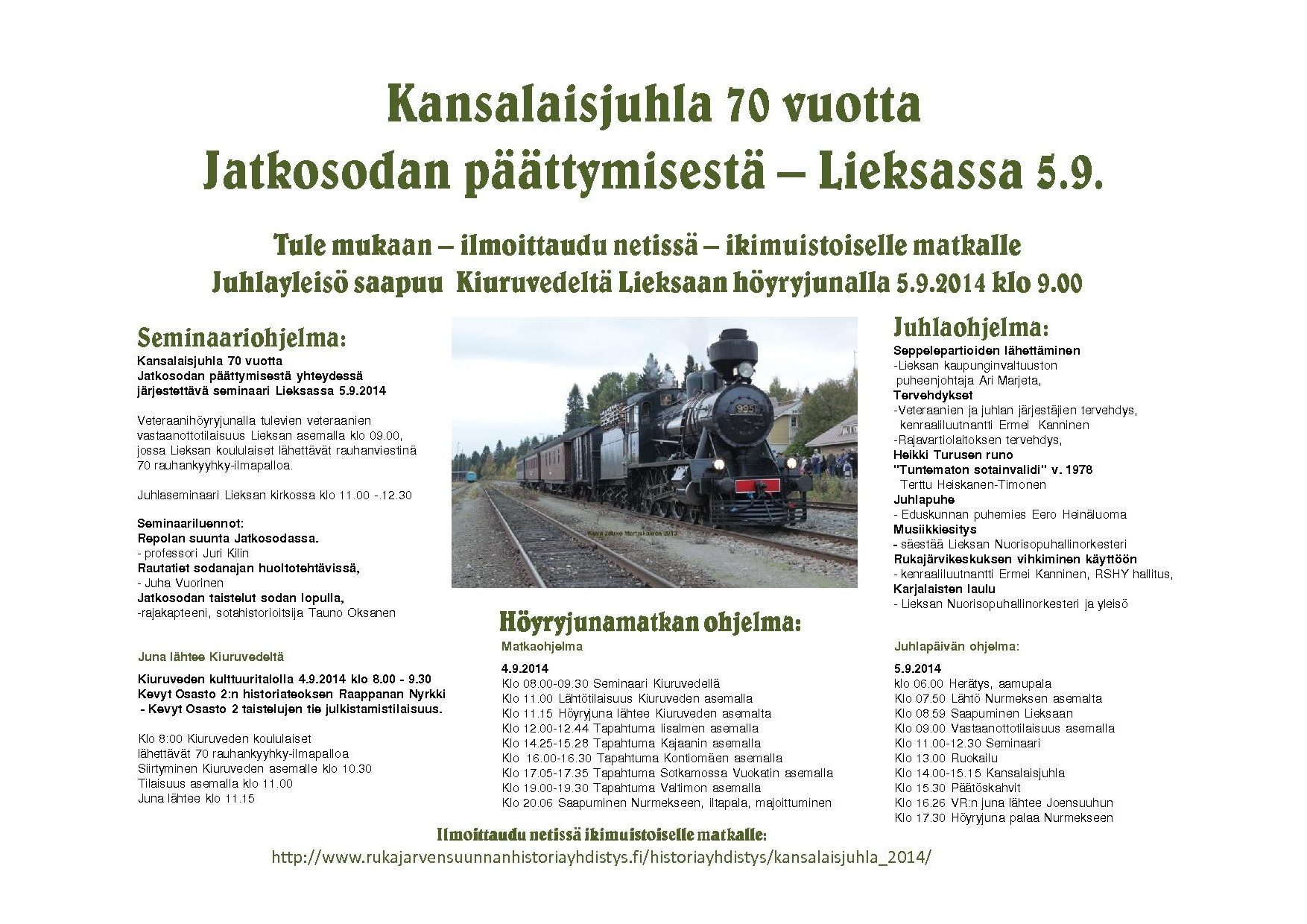 Kansalaisjuhla 70 vuotta Jatkosodasta juhlan ohjelman aikataulu kokonaisuudessaan.