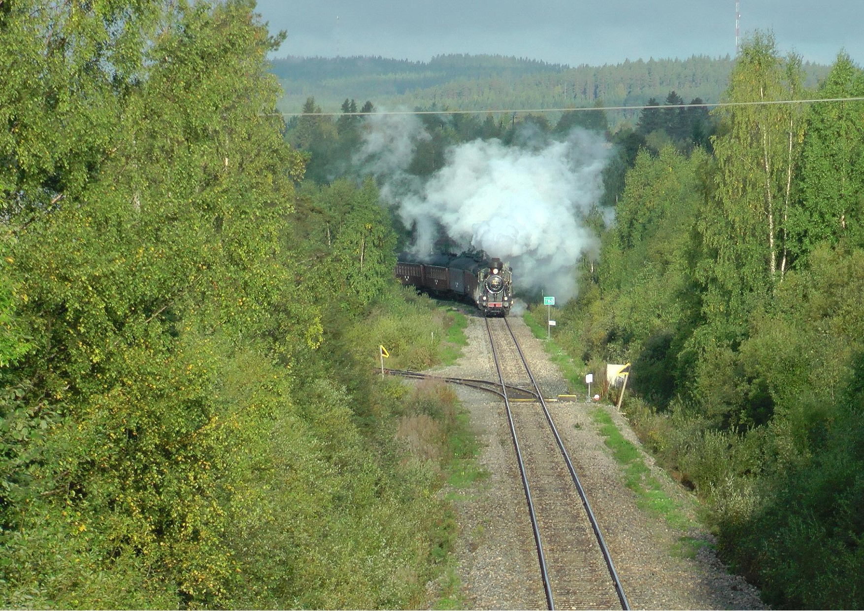 Juhlajuna saapumassa Nurmeksesta Bomban seisakkeelle 5.9.2014 aamulla.
