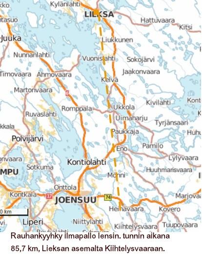 Pallon kulkureitti Lieksan asemalta Kiihtelysvaaraan on 85, 7 km. Sanja Laakkonen löysi pallon n. tunnin kuluttua sen lähettämisestä.