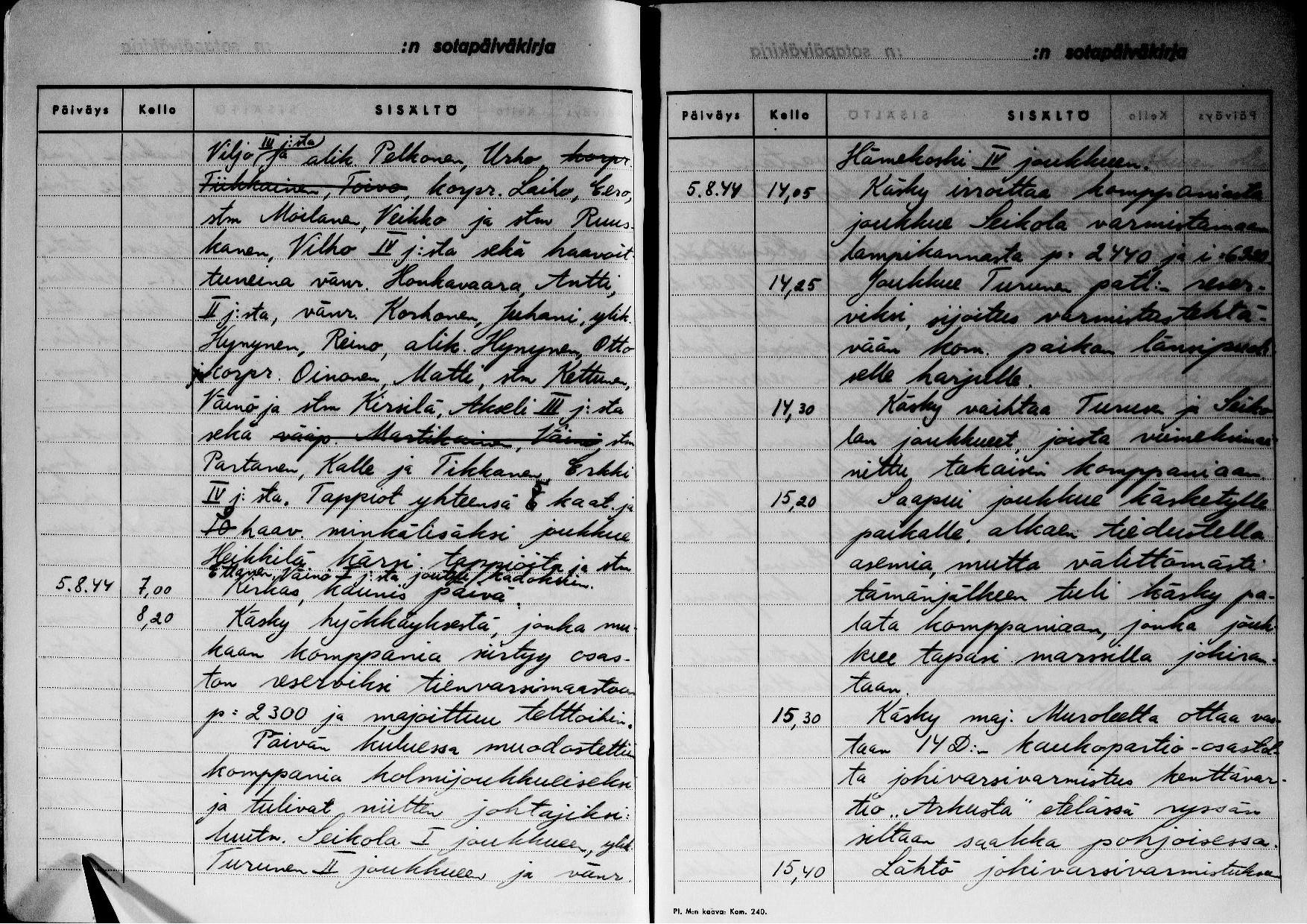 9./JR 10 sotapäiväkirja, josta ilmenee ikävä tapahtuma elokuulta 1944.