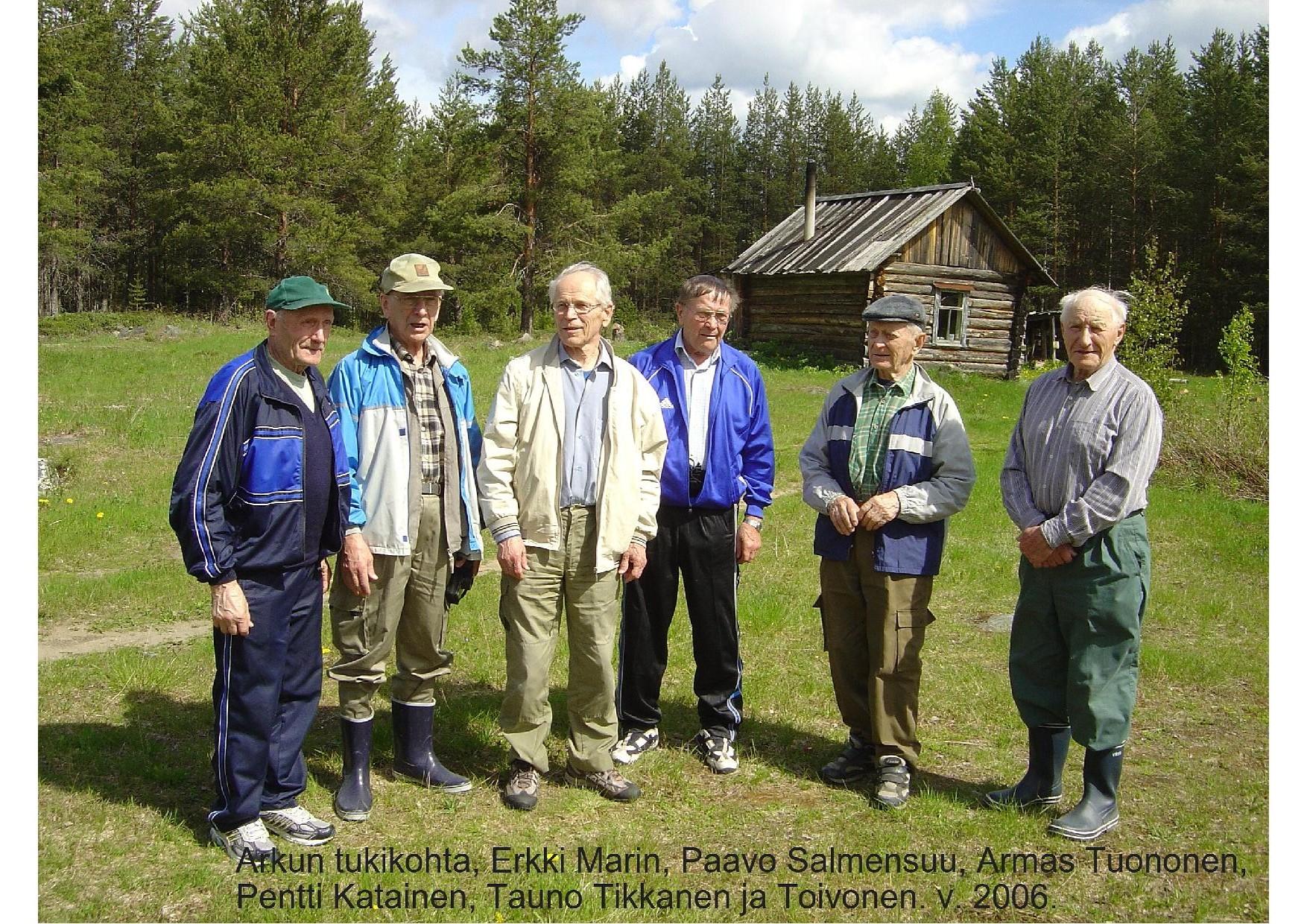 Arku Rukajärvellä 26.7.2008, Erkki Marin, Paavo Salmensuu, Armas Tuononen, Pentti Katainen, Tauno Tikkanen ja Heikki Toivanen.
