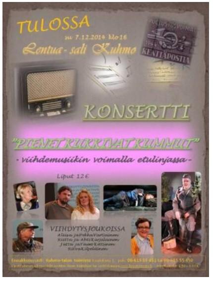 Konsertin mainos kaapattu Kainuun Sanomissa julkaistusta ilmoituksesta.