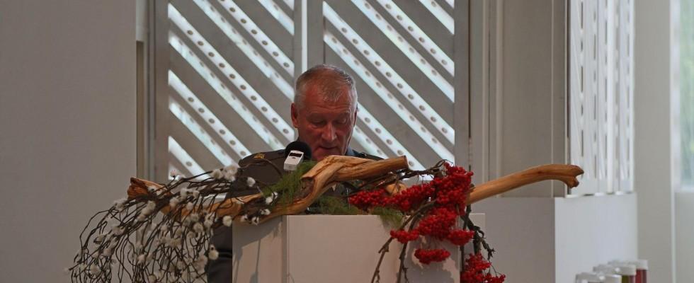 Rajakapteeni Tauno Oksanen Lieksan kirkossa 5.9.2014 Kansallinen veteraanijuhla 70 vuotta Jatkosodan päättymisestä.