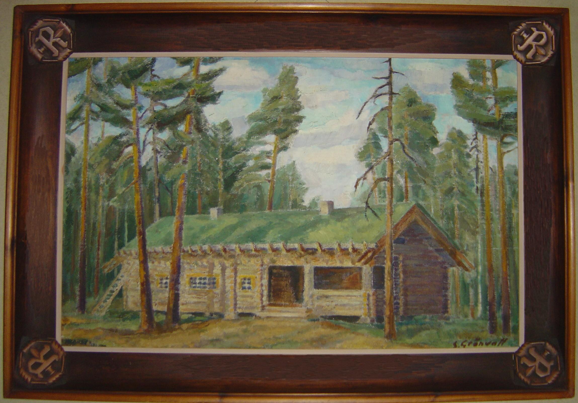 Sven Grönvallin maalaus, joka luvutettiin ylipäällikölle vuoden 1943 jouluksi.