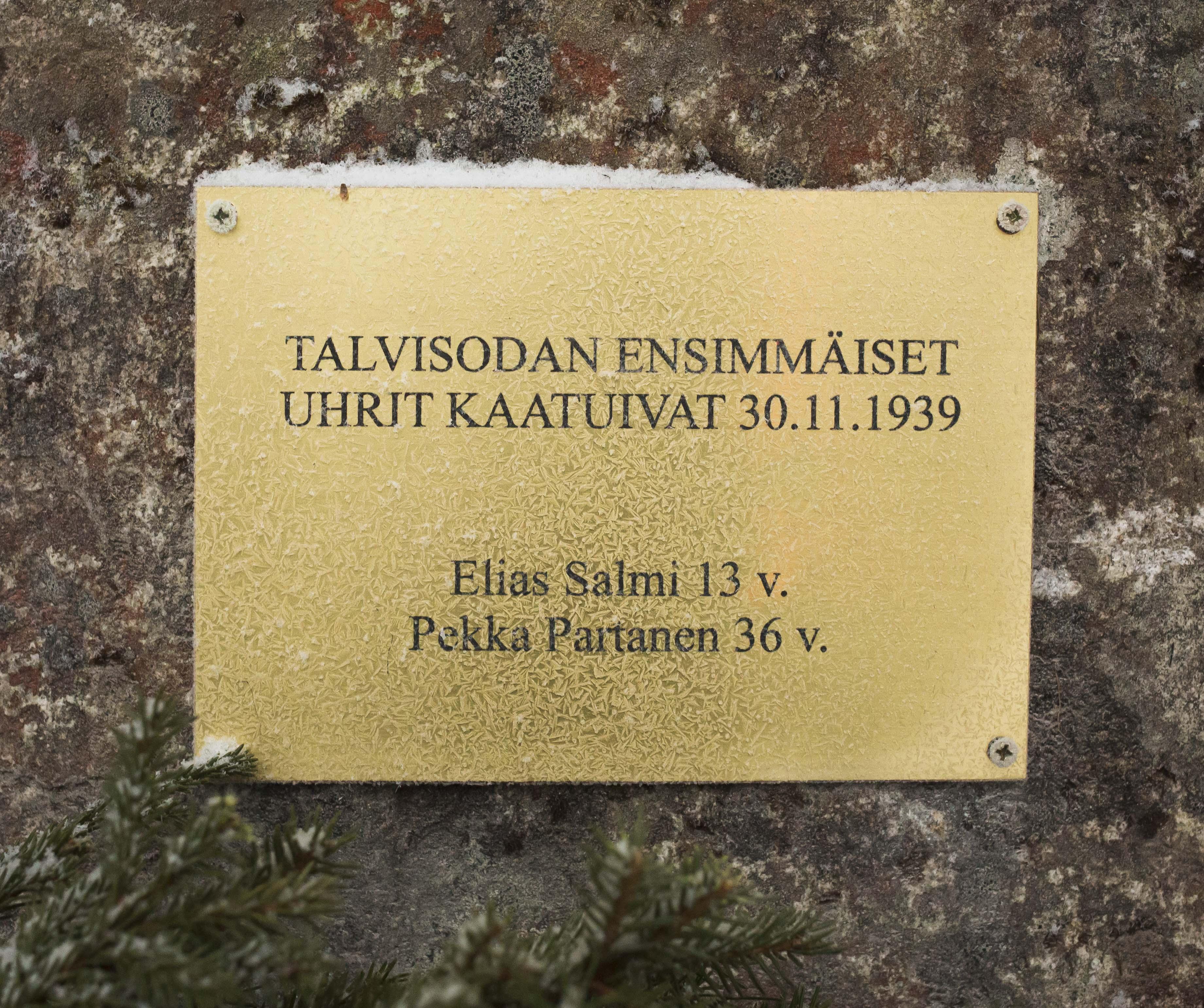 Hattuselkosen 30.11.2016 paljastettu muistomerkki.