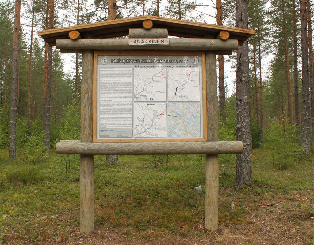 Änäkäisen Talvisodan taistelulinja, johon on kunnostettu juoksuhautoja. Lähettyvillä on kallioluolasto, joka ei ole toistaiseksi matkailunähtävyytenä käytössä turvallisuussyistä. Änäkäisissä on metsähallituksen retkeilyalue kalastusmahdollisuuksineen: (WGS84 - lat: 63.56884 lon: 30.09764). Kuva: Jouko Martiskainen