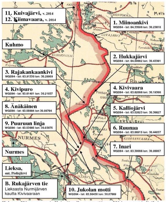 Rukajärven suunnan historiayhdistys on pystyttänyt talkootyönä lukuisia opastauluja Kuhmon ja Lieksan alueille.