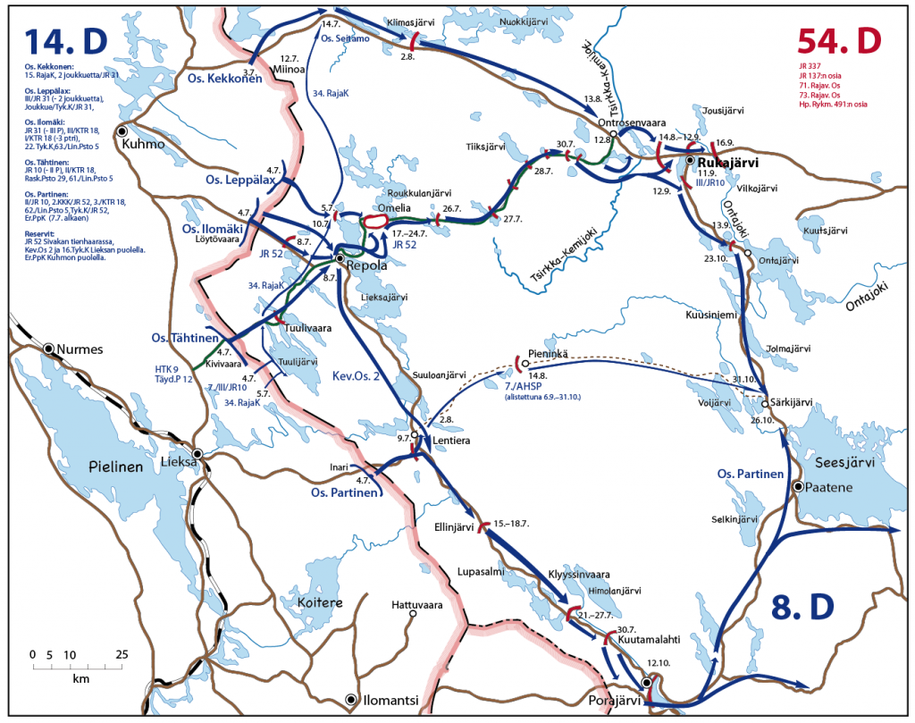 Kartassa on kuvattu suomalaisten hyökkäys Rukajärvelle. Hyökkäys päättyi lokakuussa 1941. Etulinja jäi loppusodan ajaksi siihen kohtaan mihin hyökkäys päättyi.