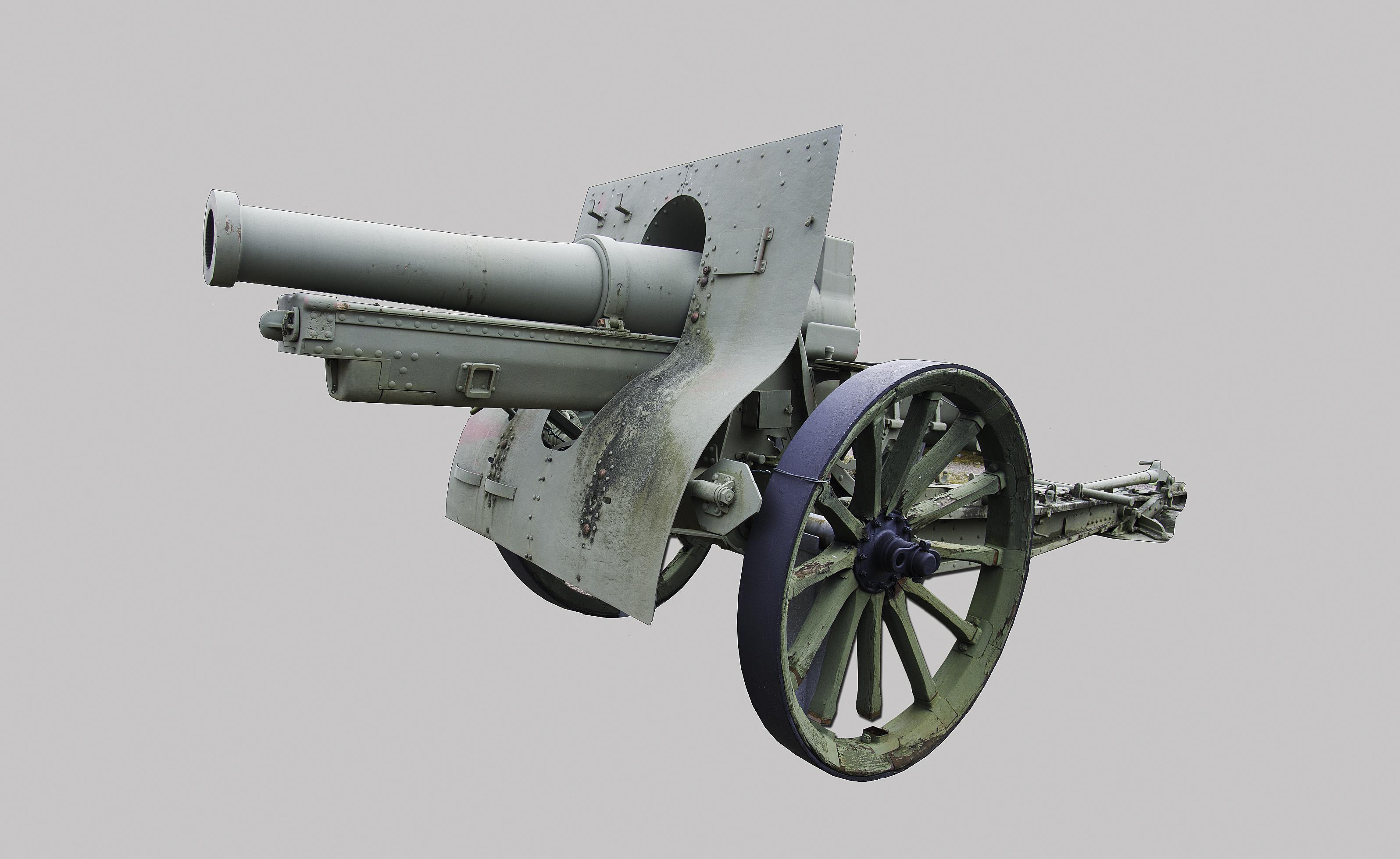 """155 mm:n ranskalainen haupitsi vuodelta 1917. Tämä tykki oli se """"kuusituumainen"""" jonka tehoon uskottiin. Tykin kranaatti painoi yli 40 kiloa. Tämä haupitsi oli Raskas patteristo 29:n kalustoa."""