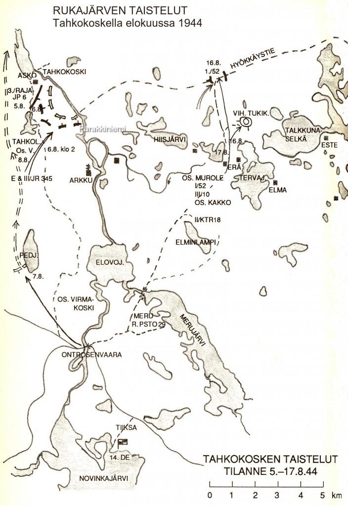 Tahkokosken taistelut elokuussa 1944, kartta.