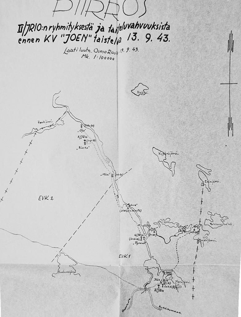 II/JR 10 ryhmitys Joen tukikohdan tienoilla 13.9.1943
