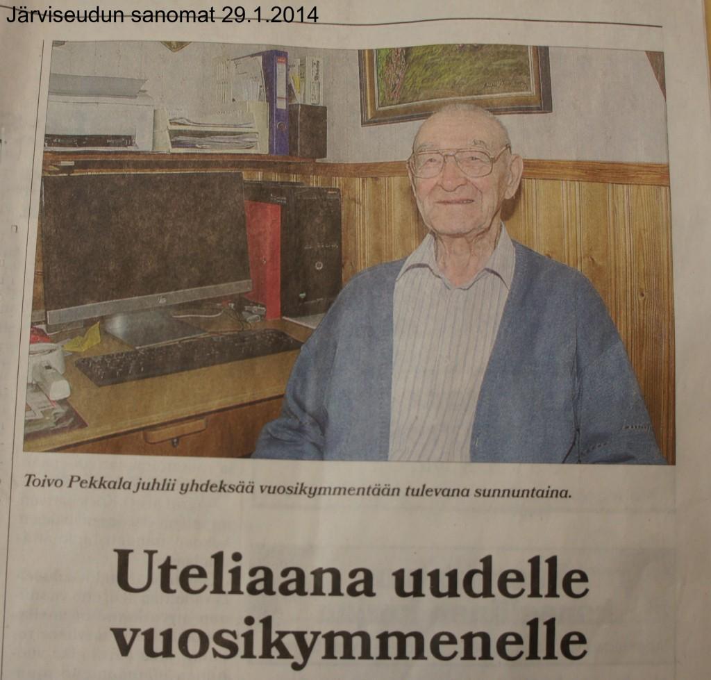 Järviseudun Sanomat oli haastatellut Toivo Pekkalaa näyttävästi ennakkoon jo 29.1.2014 ilmestyneessä numerossa.