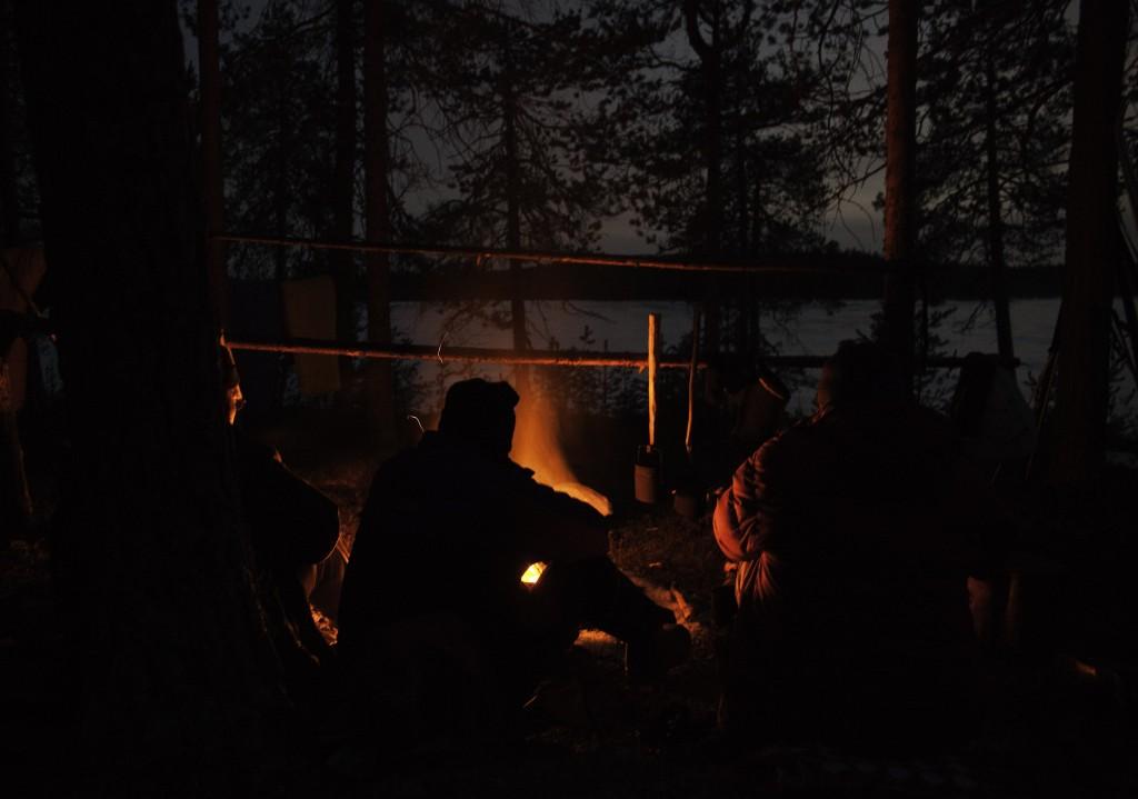 Ryhmä Pieningän perinnehiihtoretken jäsenet 28.3.2014 Uimosenjärven kannaksella. Kari Junnikkala, Risto Kiiskinen, Ari Komulainen ja Isto Turpeinen.