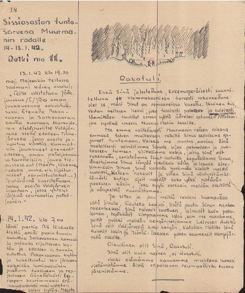 Pentti Perttuli Rukajärven suunnalla, Kev.Os. 2, RjP 6. Valokuva-albumin sivu 18, jonka Perttuli on tehnyt rintamalla vuonna 1942. RSHY:n julkaisun sivu 86 v. 2011.