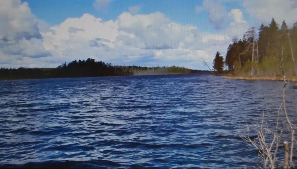 Näkymä Uimosenjärven kaakkoispäästä pohjoiseen. Arina sijaitsee Uimosenjärven ja Nuokkijärven välisellä kannaksella. Tässä mainsemassa Ryhmä Pieninkä hiihtelee.