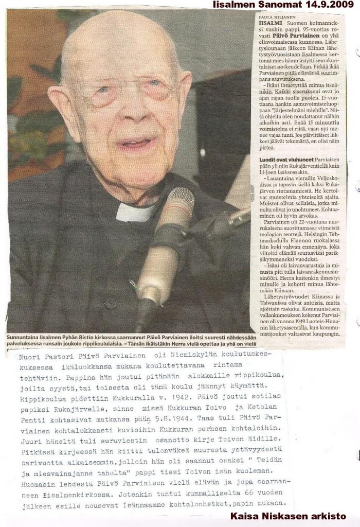Iisalmen sanomien artikkeli 14.9.2009. Kaisa Niskasen arkistosta.
