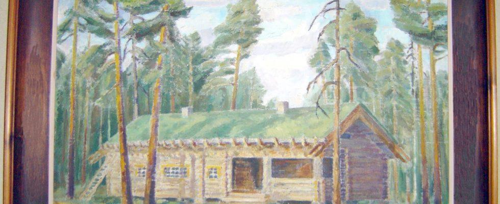 Marskin Maja alkuperäisellä paikallaan Repolan Lieksajärven rannalla Marsalkanniemessä. Sven Grönholmin maalaus.