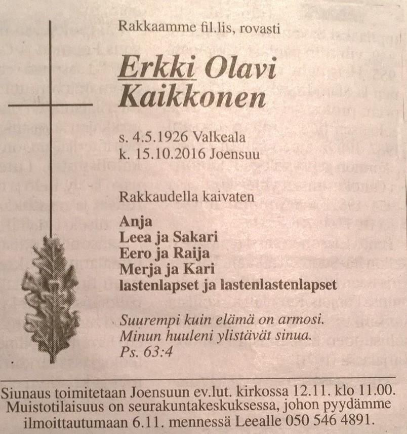 Sanomalehti Karjalaisessa 30.10.2016 julkaistu kuolinilmoitus.