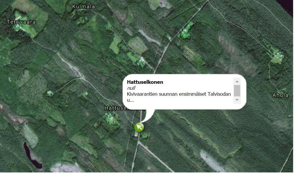 Kivivaaran suunnan uhrien uusi muistomerkki sijaitsee Hattuselkosen tiehaarassa.