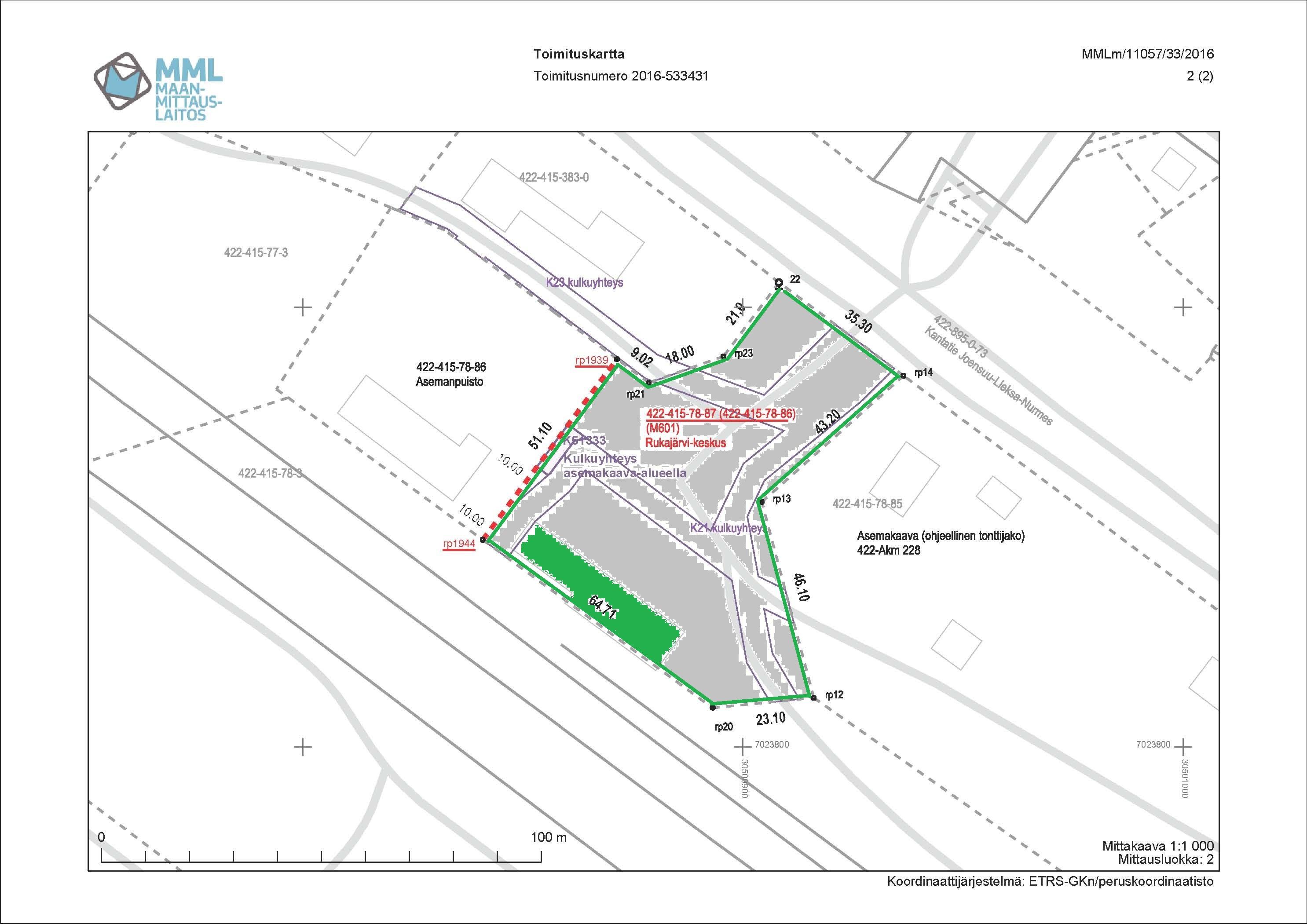 Rukajärvi-keskus merkitty kiinteistörekisteriin. Tontin pinta-ala on 4.490 m2. Rukajärvi-keskus käsittää nykyisin 373 k-m2, josta näyttelytilaa on n. 300 m2 ja reilut 70 m2 on lämmintä toimistotilaa.