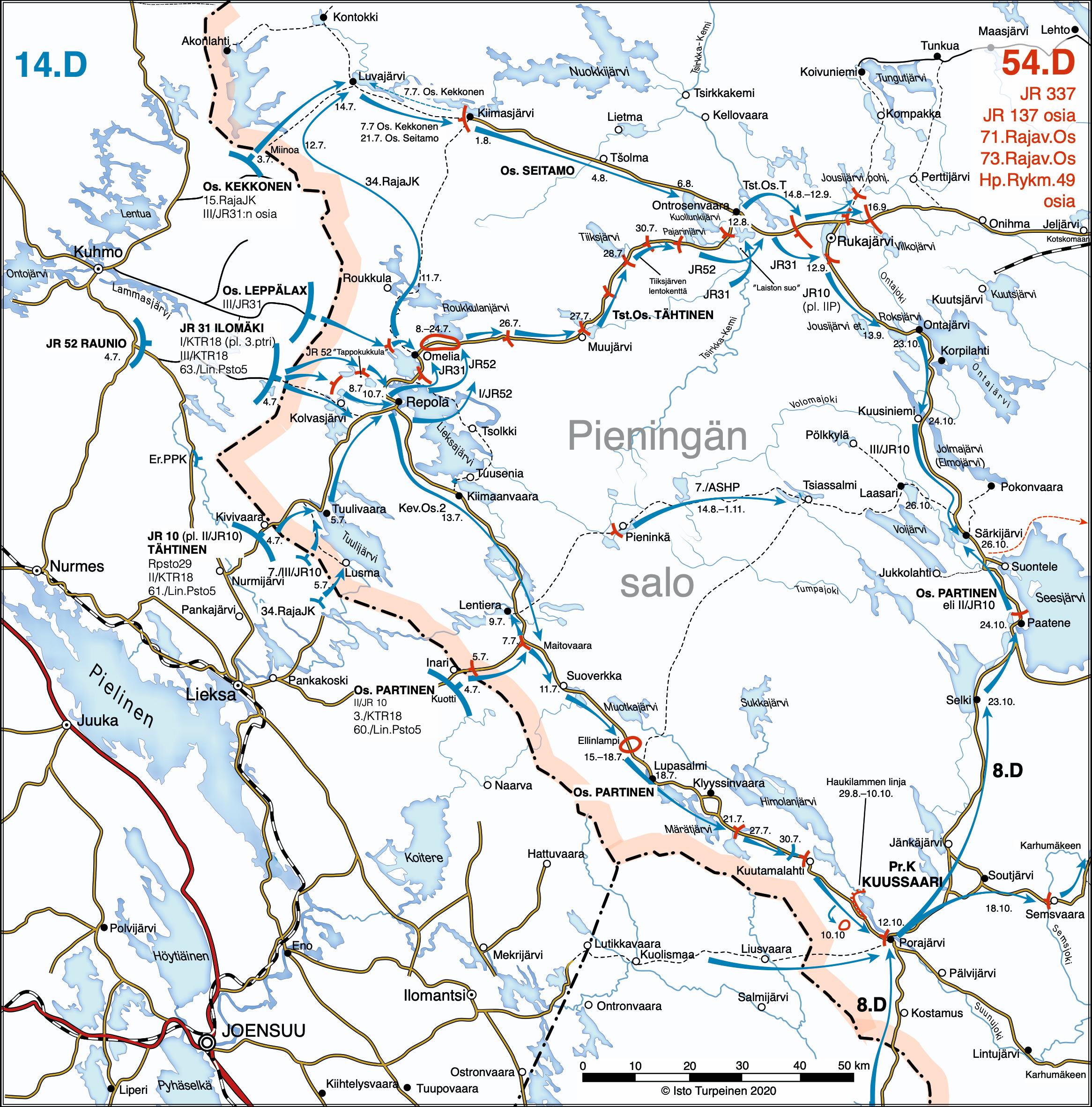 Rukajärven suunnan yleiskartta, jossa kuvattu hyökkäysvaiheen sotaliikkeet.